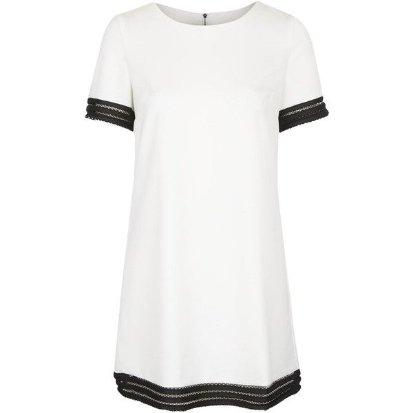**Mesh Striped Trim T-Shirt Dress by Rare ($25) ❤ liked on Polyvore featuring dresses, vestidos, white, white tee dress, white mini dress, t shirt dress, rare london and white t shirt dress