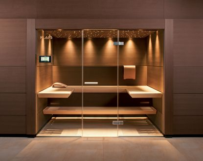 Frameless glass wall & door system; cantilever benches