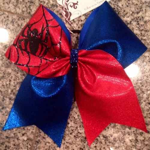 Bows by April - Blue and Red Spiderman Superhero Cheer Bow, $15.00 (http://www.bowsbyapril.com/blue-and-red-spiderman-superhero-cheer-bow/)