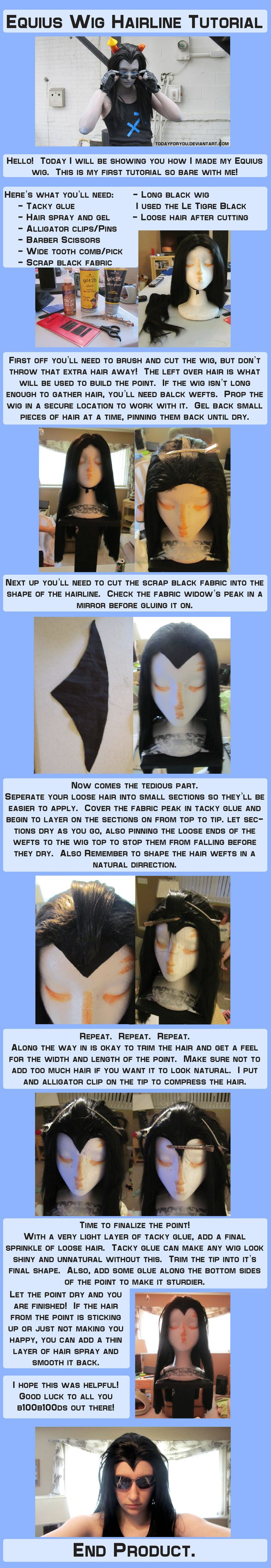 Equius Wig Tutorial by ~TodayForYou on deviantART   This could also be good for Raven from Teen Titans.