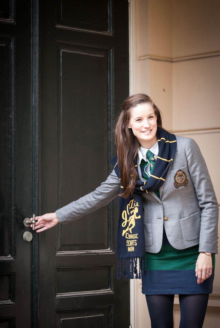 Prep School Style. Blazer + Buttonup + Skirt + Scarf