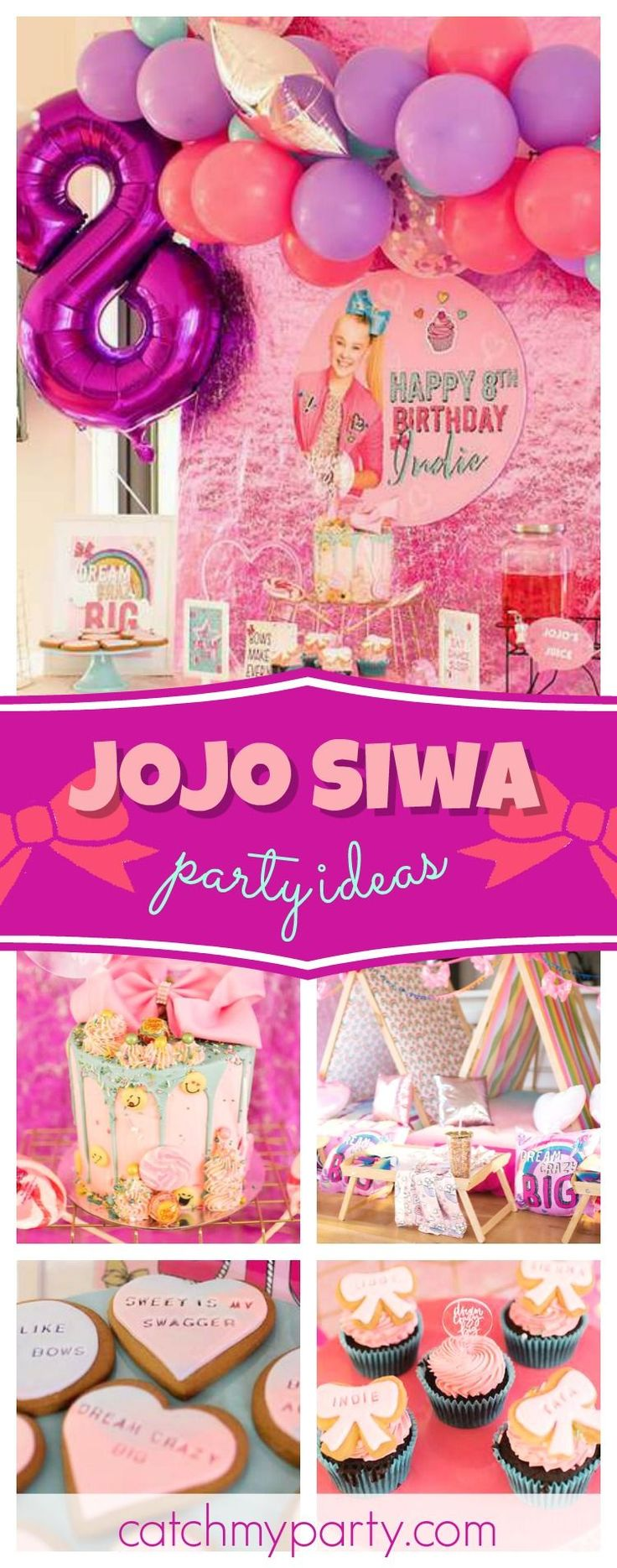 Check out this awesome JoJo Siwa 'Kid in a Candy Store' birthday party! The birthday cake decorated with emojis and candy is so cool!! See more party ideas and share yours at CatchMyParty.com #catchmyparty #partyideas #jojosiwa #girlbirthdayparty