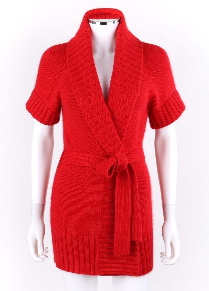 f9bc2e6bbc ESCADA Sport Red Angora Knit Shawl Collar Short Sleeve Belted Cardigan  Sweater S  ESCADA  Cardigan