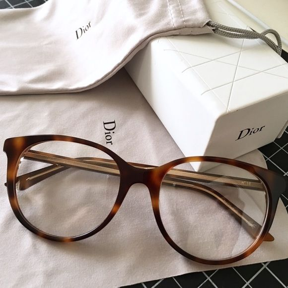 Christian Dior Prescription Glasses (Montaigne 16) C.Dior Prescription Eyeglasses (Model: Montaigne No. 16 - Havana Crystal) purchased on March 12, 2016. Worn a few times in pictures and in class. They currently have my prescription lenses inside, but they can be taken to your local optometrist and have the lenses filled in for you. Used, but AMAZING condition because they are hardly warn. No scratches. Dior Cleaning Cloth, Pouch, and Case included for free. Hard case has minor wear due to…