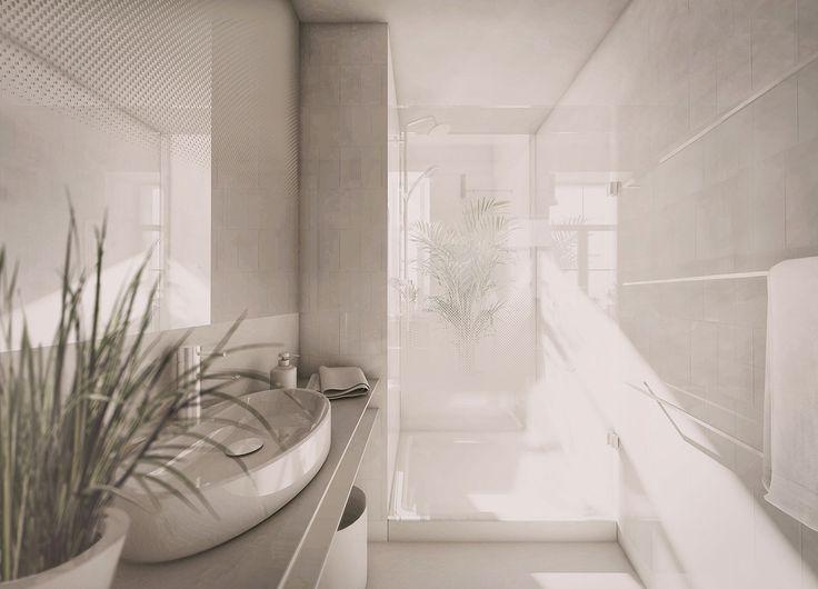 PERŁA BREWERY APARTMENTS | minimal white bathroom, printed glass, printed mirror