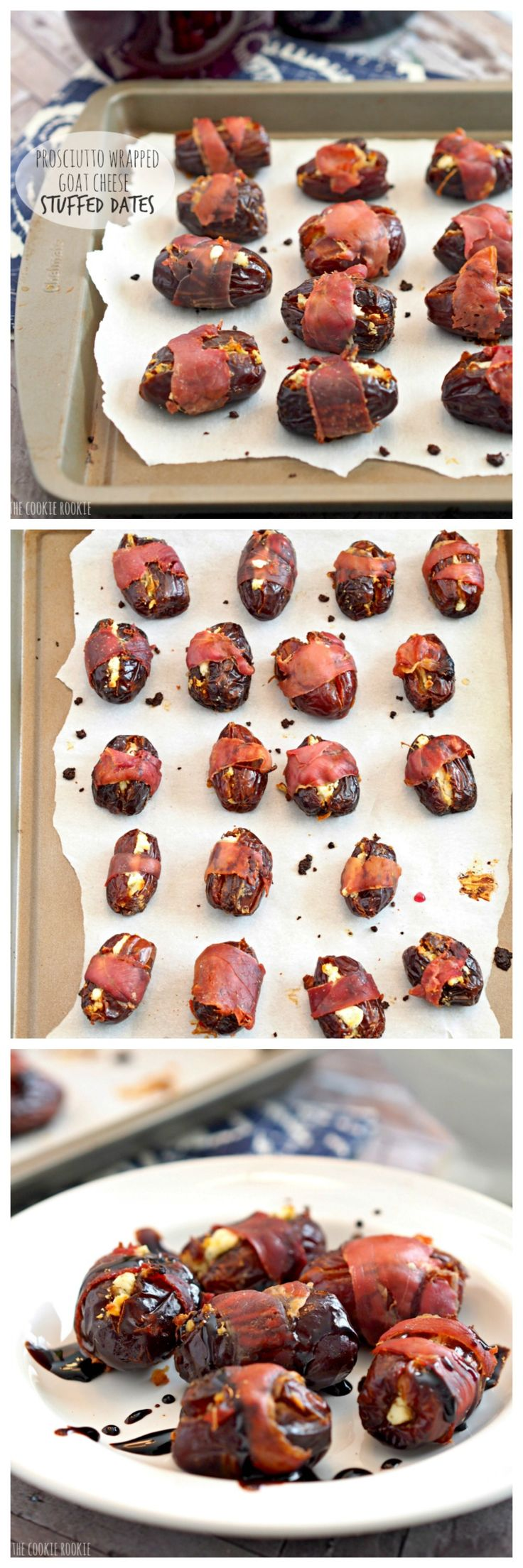 Prosciutto Wrapped Goat Cheese Stuffed Dates, the perfect party appetizer!