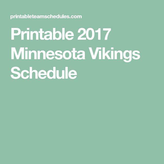 Printable 2017 Minnesota Vikings Schedule