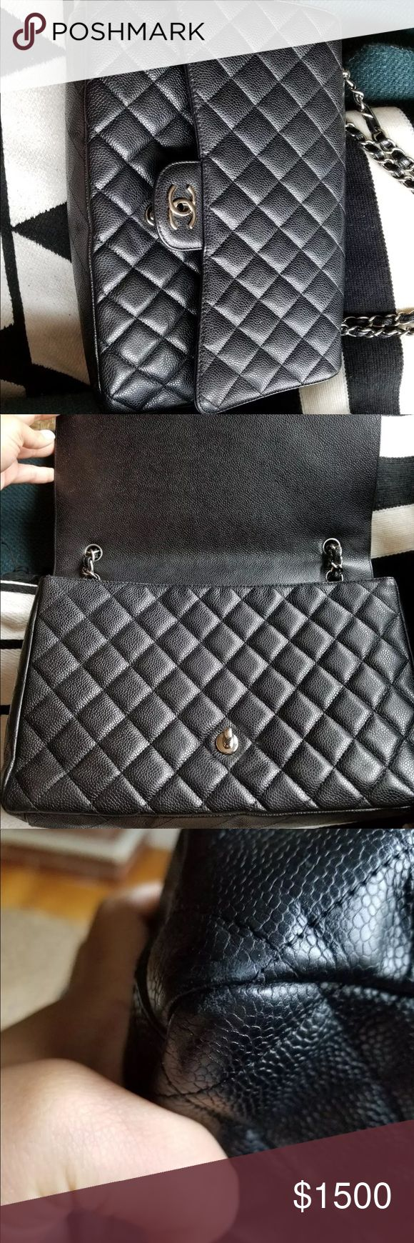 Chanel Jumbo Maxi Black Caviar Flap Bag Chanel Jumbo Maxi Black Caviar Flap Bag, small wear on the corner. Spilled lash glue on the inside pocket reason for low price. It's authentic and posh will confirm before shipping it out to you. Please use offer buttons for any negotiations. CHANEL Bags Shoulder Bags