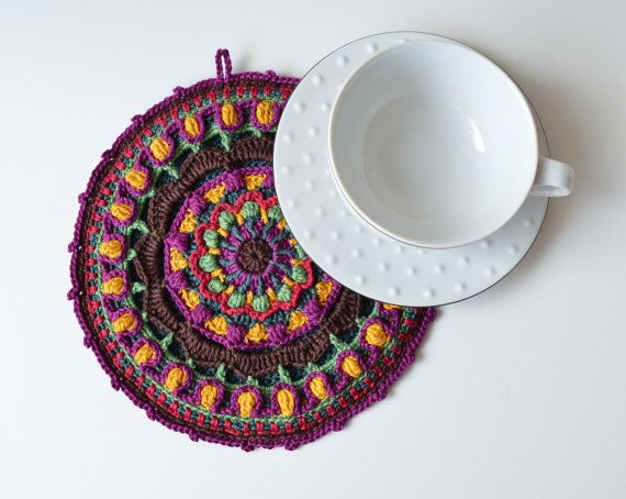 Crochet mandala potholder - Chocolate Spice by LillaBjornCrochet