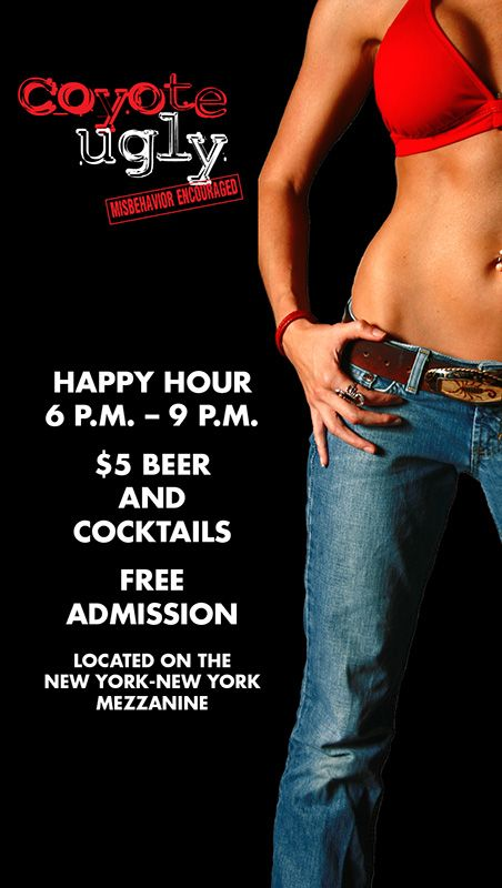 coyote ugly bar at new york new york mezzanine. free entry before 9pm