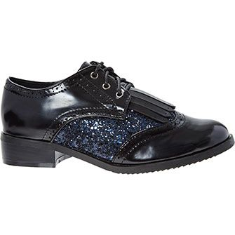 Hoxton Chic Black Glitter Tassle Fringed Loafers