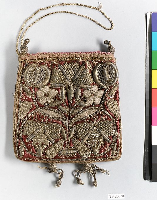 Bag Date: early 17th century Culture: British Medium: Metal thread on silk Accession Number: 29.23.20