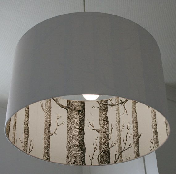 add a strip of wallpaper to the inside of a pendant light.  Love this.