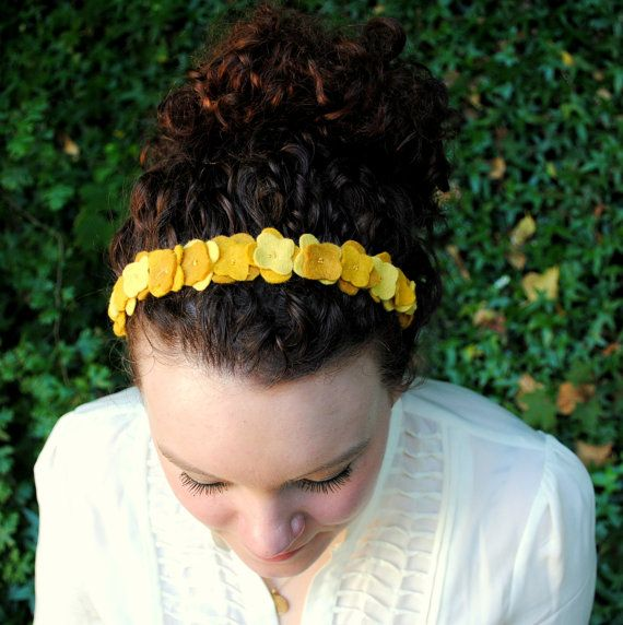 Curly hair with Headband. Yellow Hydrangea Flower Crown Headband - Felt Flower Statement Hair Accessory - Mustard Bridal Flower Headband