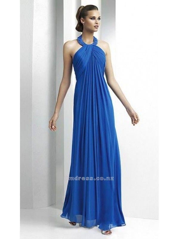 A line Halter Chiffon Long Bridesmaid DressesSKU: BM000123 Wedding Apparel From New Zealand