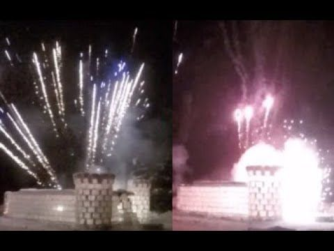 Ice Castle Fireworks Display (Raw Video)