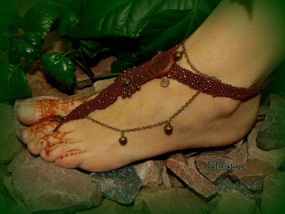 Brass Bell Barefoot Macrame Sandal/Tribal Beach footwear/Belly Dance Ankle Bracelet
