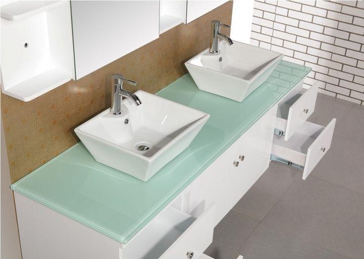 meuble double vasque de design moderne en 60 exemples superbes - Lavabo Salle De Bain En Verre