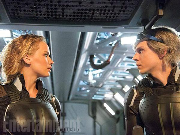 Jennifer Lawrence et Evan Peters dans X-Men Apocalypse