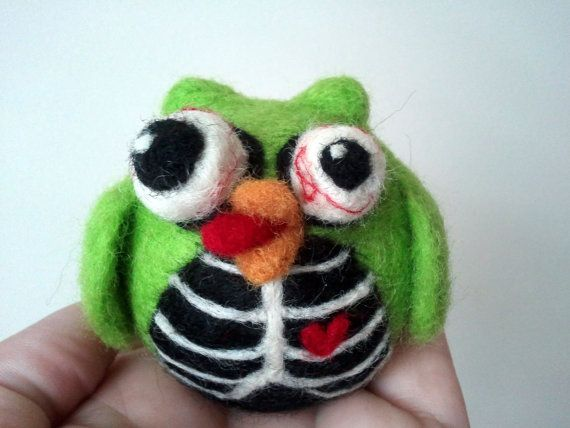Needle Felted Zombie Owl  Made to Order by SheWhoStamps on Etsy,