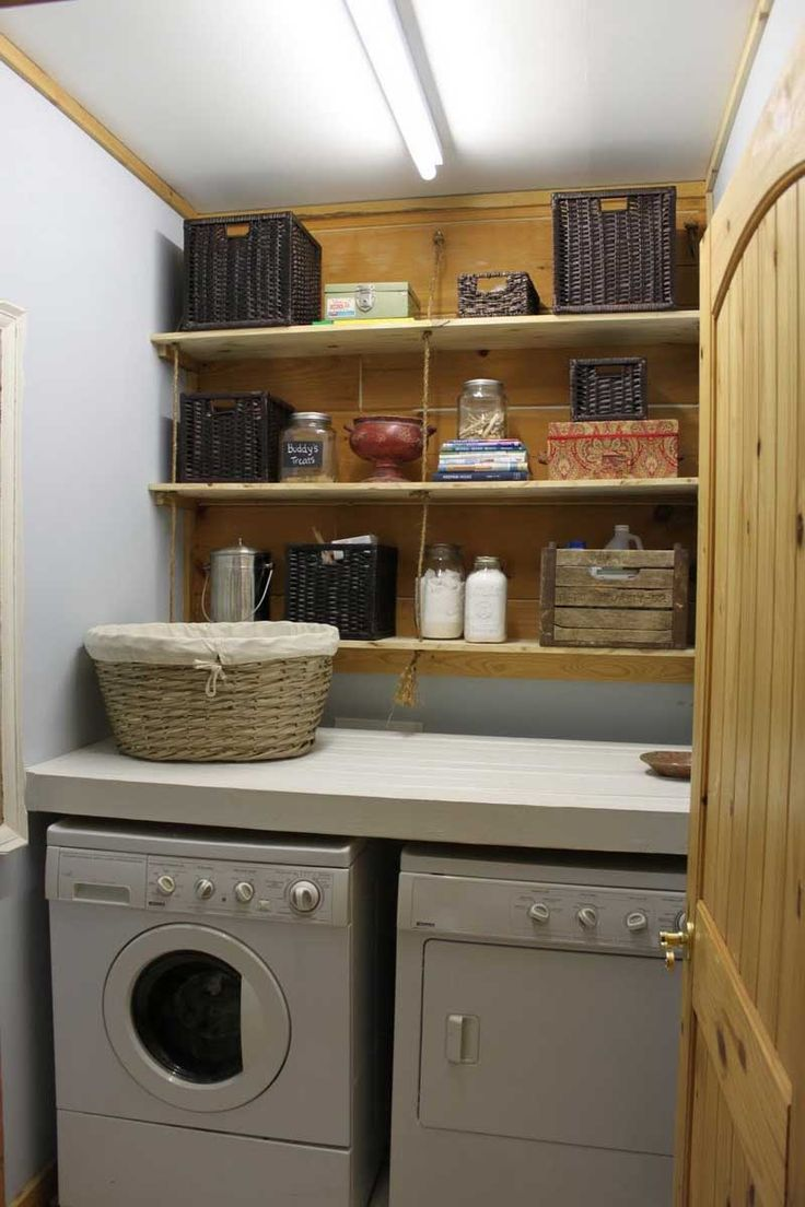 Washer and dryer closet for laundry room ideas simple for Shelf above washer and dryer