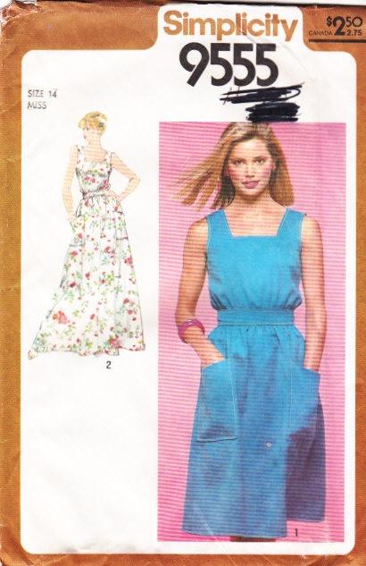 Simplicity 9555 80s Square Neck Sundress, Maxi Dress Sewing Pattern 14 B36 Uncut