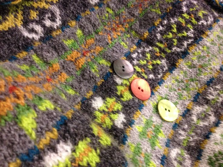 Buttons for my Next Year in Lerwick cardigan. Design Tori Seierstad, pattern to be found on Ravelry.