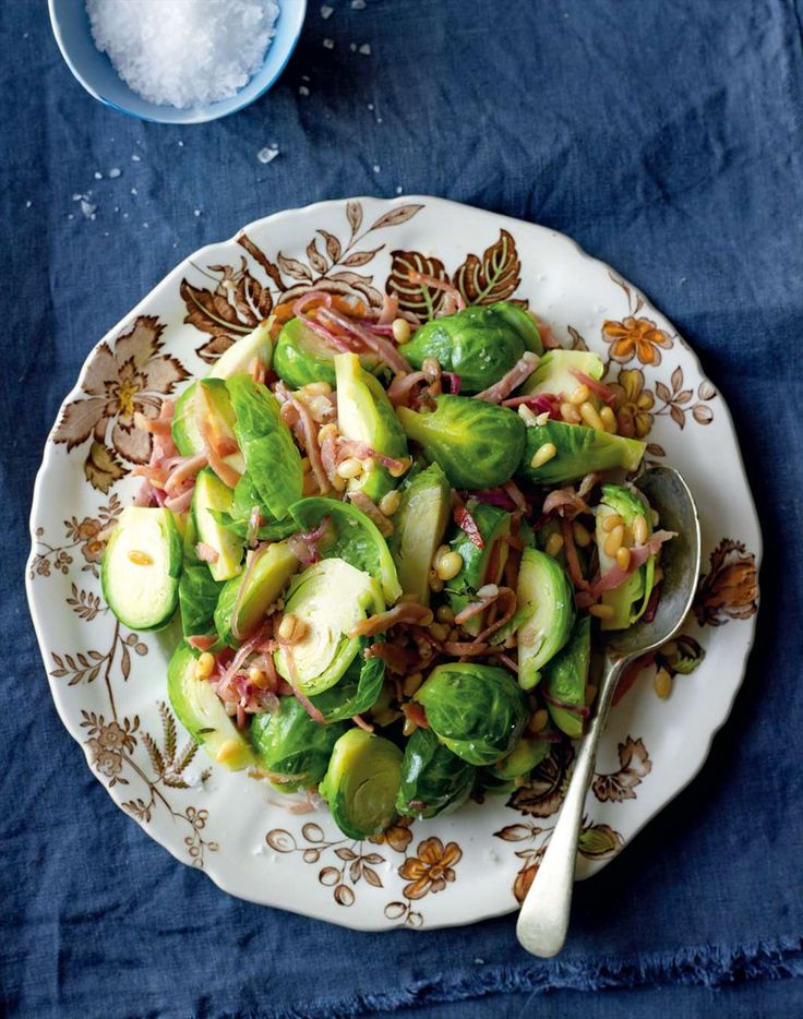 Brussels sprouts with pine nuts and bacon by Jane Kennedy from OMG! I Can Eat That? | Cooked
