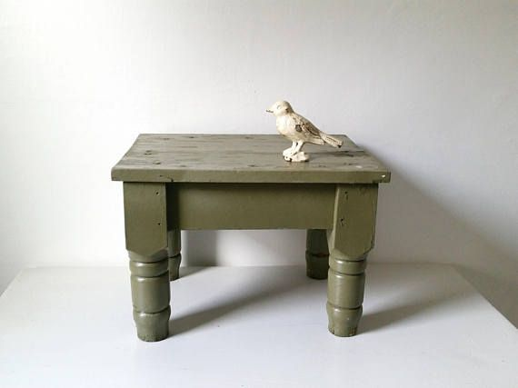 Vintage Bench . Pale Green Wood Bench . Antique Bench . Wooden