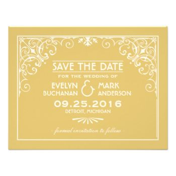 Elegant and glamorous wedding save the date announcements inspired by vintage art deco style and the roaring twenties. Card design features an ivory and gold color scheme, ornate decorative frame, custom text, and a graphic pattern on the back side. #wedding #save #the #date #save #the #dates #engagement #vintage #retro #art #deco #nouveau #elegant #custom #design #gatsby