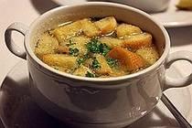 Česnečka- extremely yummy Czech garlic soup. Great for a cold day served with potato latkes.