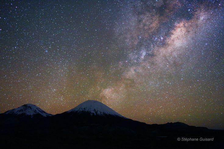 Parinacota under a gorgeous starry sky (Photo: Stéphane Guisard): Sky Photos, Astrophotographi Web, Guisard Astrophotographi