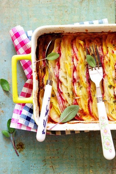 Scalloped Potatoes and Turnips au Gratin