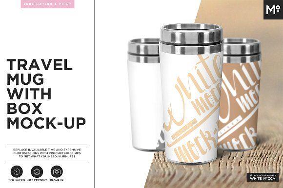 Travel Mug Mock-up by Mocca2Go/mesmeriseme on @creativemarket