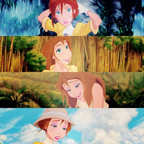 Jane Porter - How her hair changes as she adapts to life in the jungle.