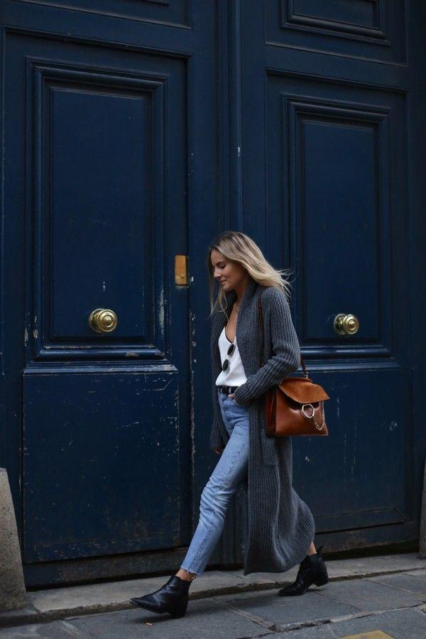Серый кардиган: 10 стильных образов с длинной кофтой 1
