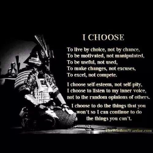 Yo elijo ser mejor que el resto, no conformarme, nunca luchare menos que tu, tendras que desconectar mi conciencia para que puedas saborear tu victoria
