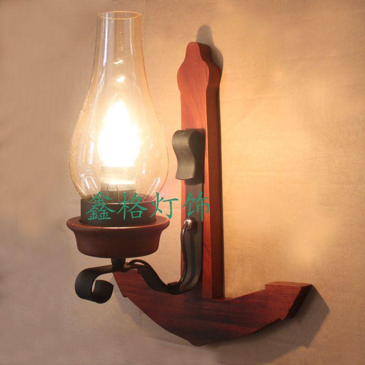 Винтажный твёрдая древесина сварочное железо стена лампа америка бар фары проходу фары лампа