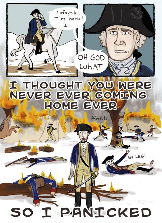 George Washington and the Marquis de Lafayette during the American Revolutionary War. Wait...what just happened??? (Obviously, this is NOT to be taken seriously :P) - Art by thesouschef.tumblr.com