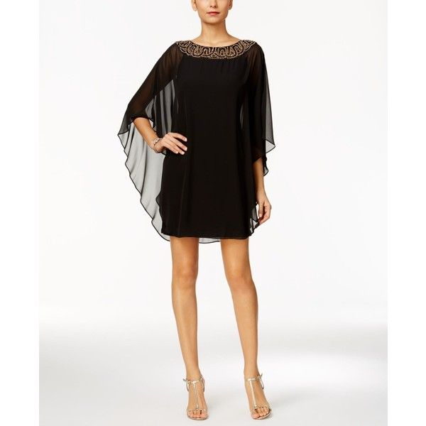 Xscape Petite Embellished Chiffon Cape-Overlay Dress (£155) ❤ liked on Polyvore featuring dresses, petite dresses, sparkly cocktail dresses, overlay dress, sparkly dresses and chiffon cocktail dresses