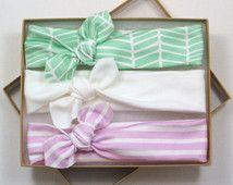 Flecha Chevron algodón orgánico anudada la venda / la venda del bebé / niño venda / Jersey de punto verde lavanda diadema blanca / conjunto de tres