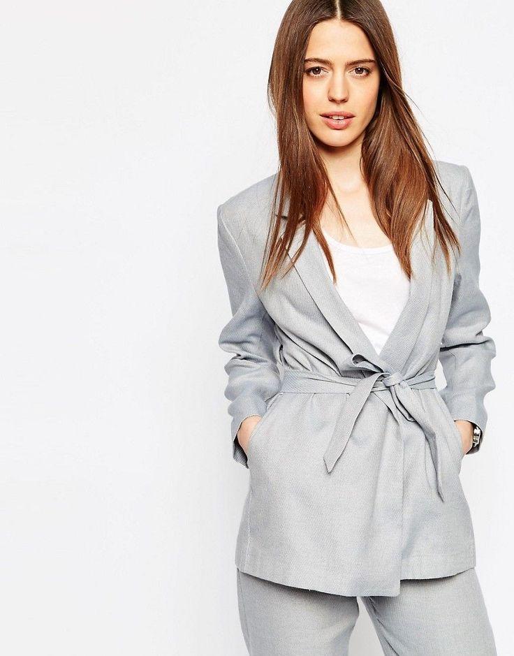 Melsvas kimono švarkas | ASOS | Linen Blazer with Kimono Sleeve - Blue - ASOS.com | ShopSpy.lt