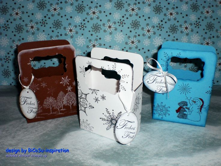 zu Weihnachten kleine Täschen mit Wintermotiven  - xmas - christmas bag with wintermotive --- includes without stampin up stamps