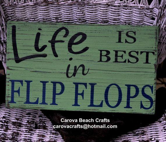 Flip Flops Sign - Beach Decor - Coastal - Nautical - Lake - Summer - Pool Sign - Life Is Better - Rustic - Hand Painted (No Vinyl) - Wood