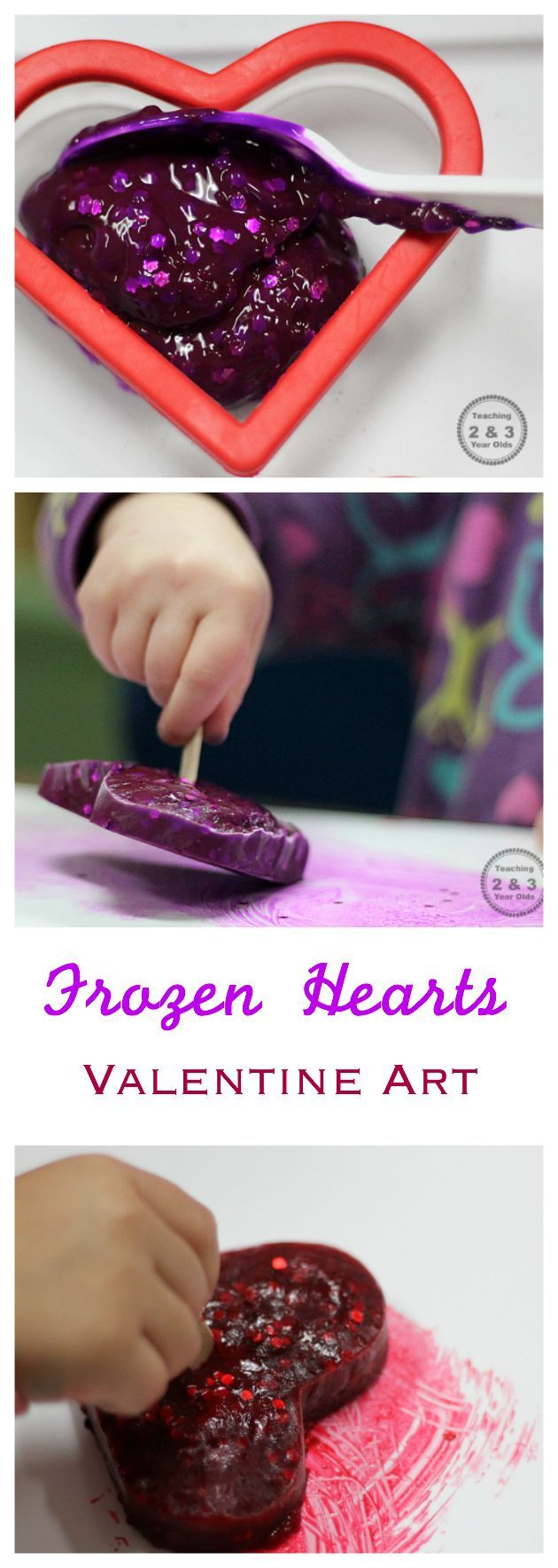Freeze paint into heart shapes for Valentine's Day and then paint with them! A fun art activity for toddlers and preschoolers.