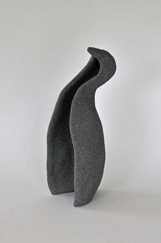 Penguin 05 stone finish 33cm x 12cm x 11cm approx  - Handbuilt stoneware engobe enamel finish by Scott Lee Ceramics