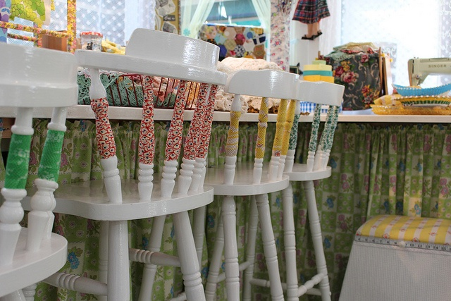 workshop stools by the button tin, via Flickr