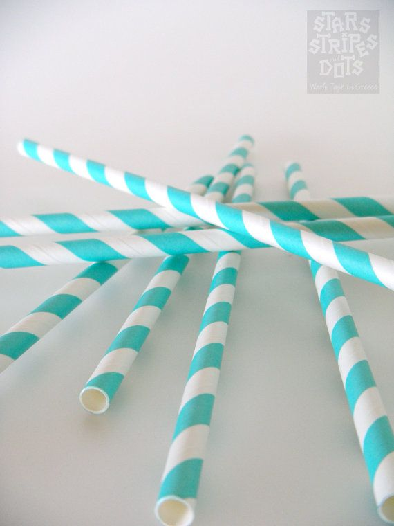 25 striped paper straws turquoise weddings by StarsStripesAndDots, €2.99