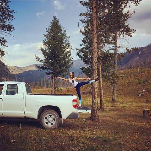 Stella serving up strength and stability mountainside in serene Montana ⛰ #ABTonVaca | photo: Sascha Radetsky