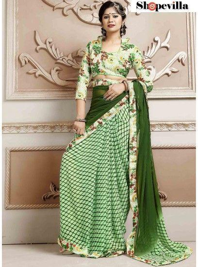Green Weightless Spray Print Saree-TM-239